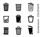 Vector Black Trash Can Icon On...