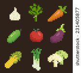vegetables icon set  pixel art... | Shutterstock .eps vector #231405877