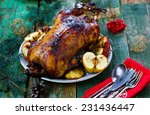 the christmas baked goose with... | Shutterstock . vector #231436447