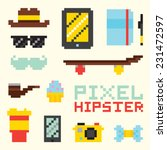 """pixel hipster"" isolated vector ... 