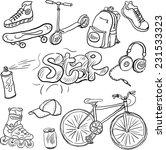 doodle set of teenagers... | Shutterstock .eps vector #231533323