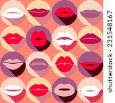 flat design of lips. seamless...