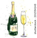 champagne bottle and glass ... | Shutterstock .eps vector #231554143