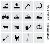 vector farming icon set on grey ... | Shutterstock .eps vector #231635737
