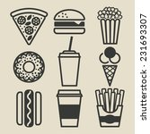 fast food icons set   vector... | Shutterstock .eps vector #231693307