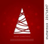 christmas card with red cut... | Shutterstock .eps vector #231716347