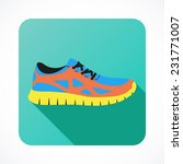 shoes flat icon with bright...
