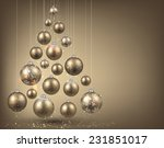 Christmas Tree With Golden...