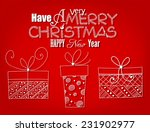 christmas card. three hand  ... | Shutterstock .eps vector #231902977