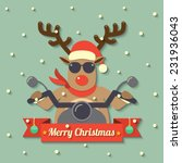 a reindeer wearing sunglasses... | Shutterstock .eps vector #231936043