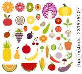 icons of fruits and vegetables... | Shutterstock .eps vector #231979507