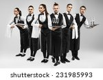 six waiters with glasses and... | Shutterstock . vector #231985993