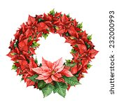 watercolor poinsettia wreath | Shutterstock . vector #232000993