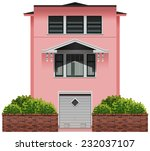 a big pink building on a white...   Shutterstock .eps vector #232037107