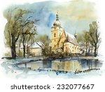 Church In Winter  Watercolor...