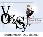 fashion girl in sketch style.... | Shutterstock .eps vector #232108507