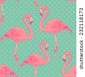 seamless flamingo bird pattern. ... | Shutterstock .eps vector #232118173