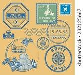 travel stamps set  vector... | Shutterstock .eps vector #232125667