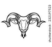 ram head twisted horns mountain ... | Shutterstock .eps vector #232197523