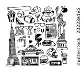 hand drawn new york doodles  | Shutterstock .eps vector #232236163