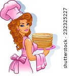 woman cook on a white background | Shutterstock .eps vector #232325227