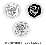set of white and black roses... | Shutterstock .eps vector #232512373