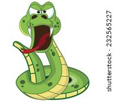 Постер, плакат: Hissing Cartoon Snake A