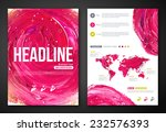Business Poster or Flyer Template with paint abstract pink background. Vector illustration. Typographic template for your text. Woman beauty, health & spa, fashion theme. | Shutterstock vector #232576393