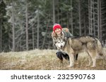 Woman And Alaskan Malamute Wal...