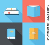 Book Icons. Flat Design Style...