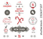 Cute Christmas set. Set of christmas ornaments and decorative elements, vintage banner, ribbon, labels, frames, badge, stickers.Christmas wreath.
