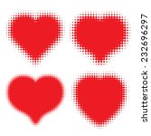 set of red hearts halftone logo ... | Shutterstock .eps vector #232696297