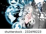 man hand pressing social media... | Shutterstock . vector #232698223