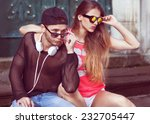 young fashion couple taking... | Shutterstock . vector #232705447
