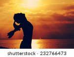 woman open arms under the... | Shutterstock . vector #232766473