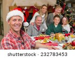 smiling father in santa hat... | Shutterstock . vector #232783453
