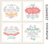 christmas hand drawn card set.... | Shutterstock .eps vector #233049073