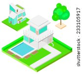 modern house and tree isometric ...   Shutterstock .eps vector #233105917