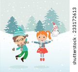 happy kids playing with snow.... | Shutterstock .eps vector #233172613