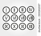 the set roman numerals 1 12... | Shutterstock .eps vector #233181037