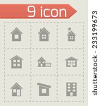 vector house icon set on grey... | Shutterstock .eps vector #233199673