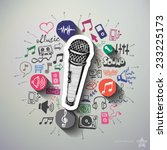 music and entertainment collage ... | Shutterstock .eps vector #233225173