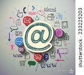 social media collage with icons ... | Shutterstock .eps vector #233225203