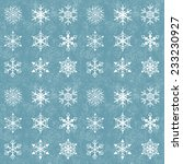 set of snowflakes on a grunge... | Shutterstock .eps vector #233230927