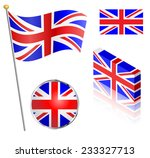 uk union jack flag on a pole ...   Shutterstock .eps vector #233327713