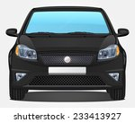 Vector Black Car   Front View