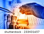 flask in scientist hand with