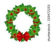 greeting card. christmas wreath....   Shutterstock . vector #233472253