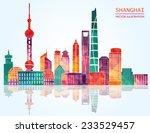 shanghai skyline. vector...