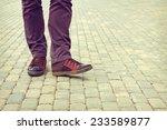 feet man standing on the road | Shutterstock . vector #233589877